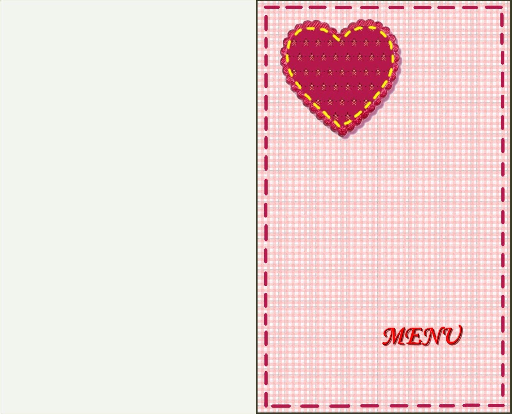 Carte menu pour la st valentin - Carte st valentin gratuite a imprimer ...